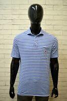 Polo RALPH LAUREN Maglia Blu Chiaro a Righe Uomo Taglia M Maglietta Shirt Man