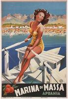 Marina Di Massa Vintage Italian Travel Poster CANVAS PRINT 24x32 in.