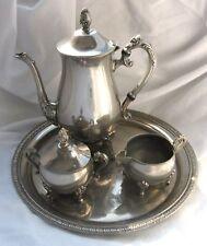 Vintage Silverplate 4 Pc Tea Set Teapot, Creamer, Sugar