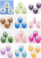 10pcs lampwork Acrylic crystal beads for European beaded charms bracelet J6P8