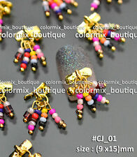 Nail Tips Accessories Fashion Alloy Decoration Gold Charms Colorful Beads#CJ_01