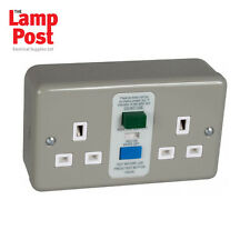 Emco EC6631MSRCD Metal Clad 13A RCD Double Socket with Back Box