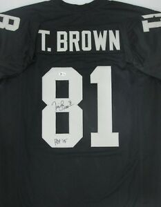 Raiders TIM BROWN Signed Custom Black Jersey AUTO w/ HOF '15 - JSA