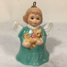 Vtg Goebel Ceramic Porcelain Angel w Dog Bell Christmas Ornament 1997 Blue/Green