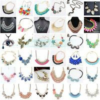 Women Crystal Choker Chunky Statement Chain Pendant Bib Necklace Fashion Jewelry