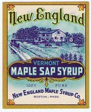 New England Maple Syrup Co, Vermont, Boston original vintage bottle label #121