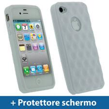 Bianco Custodia TPU Gel per Apple iPhone 4 & 4S 4G 16gb 32gb Case Cover Rigida