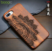 100% Natural sculpture Wooden Bamboo Wood back carving hard Case cover for phone