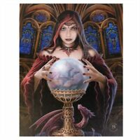 DRAGON PRINCESS 'CRYSTAL BALL' CANVAS MYTHICAL PLAQUE BY ANNE STOKES WALL ART