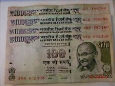 India Paper Money- 4 Old 'M.Gandhi' Notes-Rs. 100/- 2013 - One Signatory# Eavi