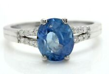 2.78Ct Natural Ceylon Sapphire and Diamonds in 14K Solid White Gold Women's Ring