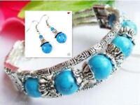 Ladies Jewelry Bangle Tibet Silver Blue Turquoise Bracelet Woman Earrings Set