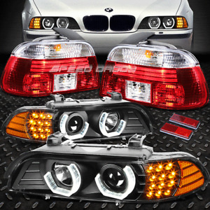 BLACK 3D HALO PROJECTOR HEADLIGHT+LED+CHROME TAIL LIGHT FOR E39 BMW 5-SERIES 4DR