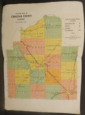 Illinois Christian County Map c1930 Double Page W20#26