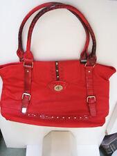Leatherette Red XL multiple pocket handbag or overniter Lined studded