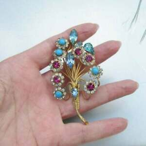 Vintage Floral Brooch Multi Gemstone & Diamond 5.37 Ct in 10K Yellow Gold Over