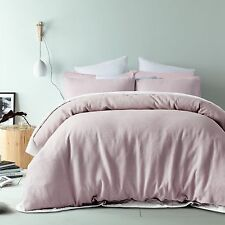 King Quilt Cover Doona Set Waffle Linen Cotton Blush 225 TC RRP $279