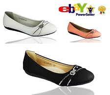 Womens Ladies Girls Flat Slip On Shoes Size UK Ballerina Pumps Ballet Dolly Shoe