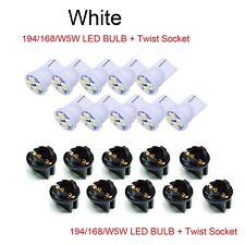 30x T10 Twist Lock Wedge Instrument Panel White LED Dash Light Bulb PC168 PC194