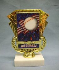 Baseball flag hologram trophy marble base