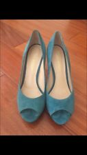 Used Enzo Angiolini Teal Turquoise Suede Open Toe Pump Heels Size 6.5M