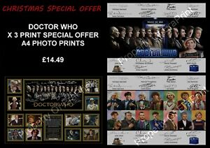 DOCTOR WHO X 3 PRINT OFFER 14 DOCTORS - LIMITED EDITION AUTOGRAPH A4 PHOTO PRINT