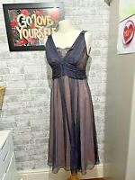 Phase Eight Grey Pink Silk Sheer Layered Dress Floaty Lace size 12