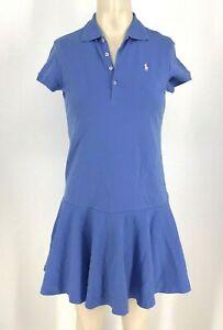 POLO BY RALPH LAUREN ~ GIRLS XL (16). - BLUE SHORT SLEEVE RUFFLE DRESS
