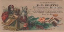Victorian Trade Card-D N Griffin Clothing-Beverly, MA-Puppies in Basket-Flowers