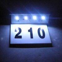 Solar Powered LED Door Garden Lamp Address Home House Number Sign Wall-Light
