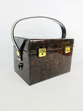Vintage Vinyl Case Make-up/Jewelry/Travel With Mirror & Handle Locks