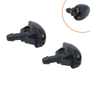 2Pcs Auto Car Window Windshield Washer Spray Sprayer Nozzle Accessories Black