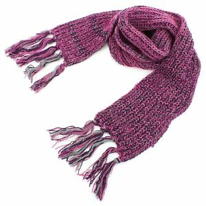 Scarf Acrylic Knit Chunky Tassels Long Knitted Warm Winter Colour Shawl