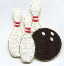 BOWLING PIN AND BALL IRON ON PATCH  2 1/8 X 2 1/2 inch