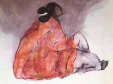 """R C GORMAN PENCIL hand SIGNED dated 1977 """"SEATED WOMAN""""  EXHIBIT ART BOARD"""