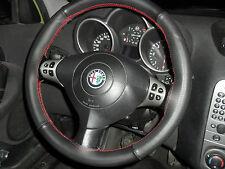 ALFA ROMEO 147 Lenkradabdeckung Lenkradabdeckung aus schwarzem Leder roten Nähte