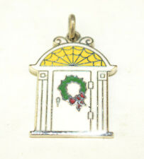 VINTAGE WELLS STERLING SILVER ENAMEL DOOR WITH CHRISTMAS WREATH 3/4 INCH CHARM
