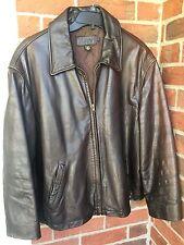 Men's J.Crew Brown Leather Coat Jacket Size X-Large $398 NICE!!