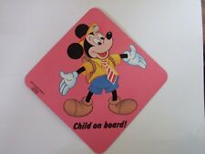 Disney Mickey Mouse Laminated Car Window Sign Vintage