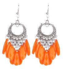 Orange Silver Dangle Fish Hook Pierced Faceted Drop Earrings Womens Jewelry