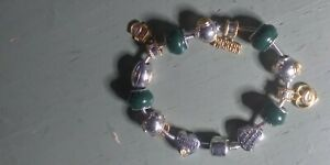 GREEN BAY PACKERS NFL JEWELRY BRACELET silver charms heavy clasp