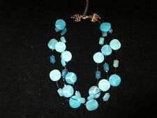 Turquoise Statement Necklace Beaded Stones Triple Layered Black Wire Silver Tone