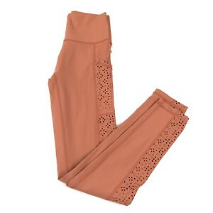 Aerie Womens High Waisted Leggings Size S Orange Pull On Stretch Cut Out Pockets