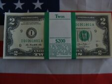 5 CRISP 2013 UNCIRCULATED USA $2 TWO DOLLAR BILL NOTE SEQUENTIAL ORDER NEW RARE!