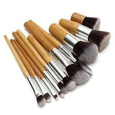11 pcs Wood Handle Makeup Cosmetic Eyeshadow Foundation Concealer Brush Set