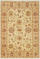 4X6 Hand-Knotted Farhan Carpet Traditional Ivory Fine Wool Area Rug D34464