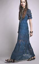 NWT Free People Sienna For Love & Lemons Maxi Crochet Lace Dress Blue Sheer $288
