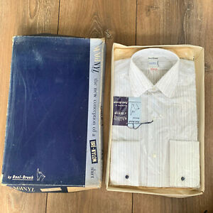 "BNIB Vintage Men's ""RAEL BROOK"" White / Grey Striped BRI-NYLON Shirt 14 ½ inch"