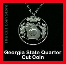 Peach State Georgia 25¢ Travel GA Quarter Coin Necklace Pendant Cut Out Jewelry