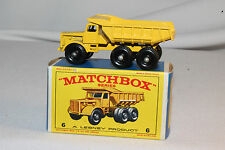 Matchbox #6C Euclid Quarry Truck, Yellow, Outstanding, Boxed